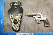 Vintage 1950and039s Hubley Toy Cap Gun And Real Texan Holster 108b