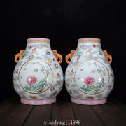A Pair China Qing Dynasty Ancient Porcelain Color Painting Golden Flower Vase