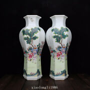 """16"""" A Pair China Qing Dynasty Ancient Porcelain Pastel Figure Pattern Vase"""