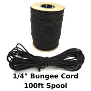 1/4 X 100and039 Bungee Cord Shock Cord Bungie Cord Marine Grade Stretch Cord Blk Usa