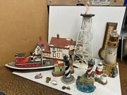 Vintage Lot 13 Lighthouses And Boat And Temperature / Humidity Thermometer And Pins