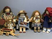 Lot Of Lizzie High Collectible Wooden Dolls W/apple Wagon Betsy Jenny Valentine