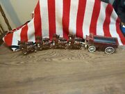Vintage Cast Iron Beer Wagon And 8 Horses.nice Piece.