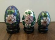 Set Of 3 Cloisonne Eggs Wood Stands In Box Made For Lillian Vernon