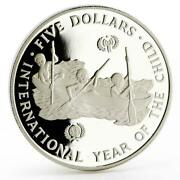 Solomon Islands 5 Dollars International Year Of Child Proof Silver Coin 1983