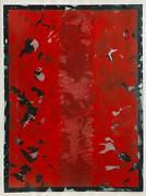 Michel Picotte Black And Red Abstract Acrylic On Paper Signed And Dated In Pe