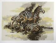 Mark King Zebras Screenprint Signed And Numbered In Pencil
