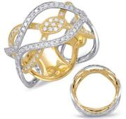 Estate Wide .85ct Diamond 14kt 2 Tone Gold 3d Multi Leaf Infinity Pave Love Ring