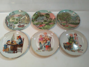 Lot Of 6 Decorative Plates - Norman Rockwell And Currier And Ives