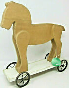 Vip Home And Garden Wooden Horse On Wheels Farmhouse Country Decorative Rustic Art