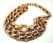 Genuine 9ct Rose Gold 375solid Heavy Oval Belcher Necklace Chain 45cm Long