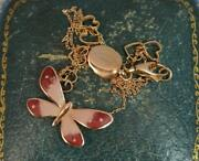 Rare And Co 18ct Rose Gold And Enamel Heart Butterfly Pendant Necklace 17 1/2