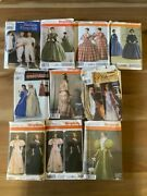 Lot Of 10 Simplicity Civil War Victorian Gown Historical Costume Sewing Patterns