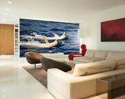3d Dolphin Leisurely Zhua199 Wallpaper Wall Murals Removable Self-adhesive Zoe