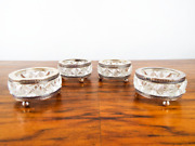 Antique French Crystal And Silverplate Salt Cellars Set Of Four Open Glass Salts