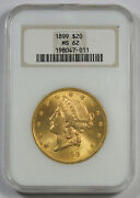 United States 1899 20 Liberty Head Gold Coin Ngc Ms62 Unc/bu Old Fatty Holder