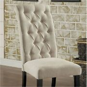 Mashall Side Chairs Tufted Fabric Seating Set Of 4pc Antique Black Dining Room