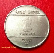 India 2 Rupees 2007 Steel Mudra Issue Rare Die Doubling Double Die Error Coin
