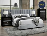 New 4pc Gray Velvet Upholstery Queen King Modern Wall Bed 2 Nightstands And Chest