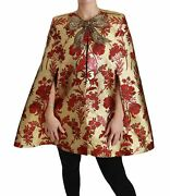 Dolceandgabbana Women Red Gold Bow Coat Silk Crystals Jacquard Casual Cape It 40 S