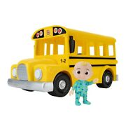 Cocomelon Yellow Jj School Bus With Sound 10in Feature Vehicle With 3in Figure