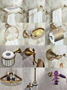 Wall Mounted Antique Brass Bathroom Accessory Set Towel Rack Toilet Roll Holder