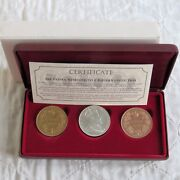 1901 Edward Vii Canada Proof Pattern 3 Crown Boxed Set - Silver Copper Bronze