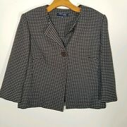 First Lady Suits Women's Size 14 Brown Blue Check Blazer
