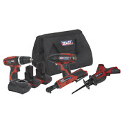 4x 12v Cordless Power Tool Kit Combo Hammer Drill Impact Ratchet Wrench Saw