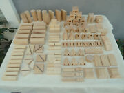 138pc Castle Wooden Natural Wood Building Blocks Turrets Towers Specialty Pieces