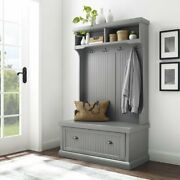 Gray Finish Wooden Hall Tree Coat Rack Hat Hooks Storage Stand Entryway Bench