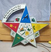 Masonic Order Of The Eastern Star Reverse Painted Glass Lighted Lodge Sign