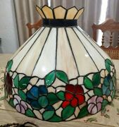 Slag Stained Glass 22x16 Hanging Lamp Ceiling Light Samand039s Town Placerville Hist