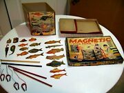Vintage Transogram Gold Medal Magnetic Fish Pond Game W/ Original Box And Pieces