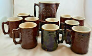 Crooksville Burley And Winter Pottery Company Brownware Pitcher 10 Mugs