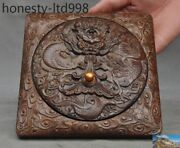 Old China Rosewood Carving Zodiac Dragon Statue Ink-stone Ink Slab Inkwell Box
