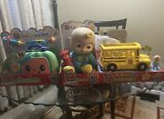 Cocomelon Bundle Jj Plush Chck Up Set And Wheels On Bus New In Box Ready To Ship
