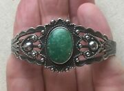 Maisel's Bracelet Turquoise Caviar Cable Stamped Sterling Vintage Cuff Artisan