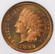 1899 Indian Head Penny Small Cent Copper Proof Coin Ngc Pf65 Rb Cameo Red Brown