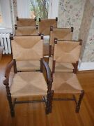Set Of 6 Antique/vintage Oak Dining Chairs Rush-seat/back, Carved Legs
