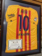 Signed Fcb Lionel Messi Soccer Jersey With Cert Authenticity Issued 2015 Rare