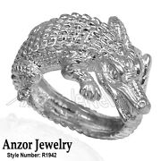 14k Solid White Gold Crocodile Ring For Menand039s And Womenand039s R1942
