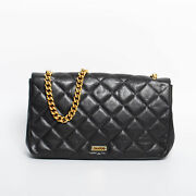 Moschino Women Black Shoulder Bag Leather Quilted Gold Chain Tote Hobo Handbag
