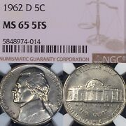 1962-d Ms65 5fs Fs Full Steps Ngc Jefferson Nickel 5c Extreme Condition Rarity