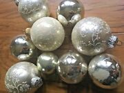 Vintage Silver And White Glass Christmas Ornaments Encrusted Mica Farmhouse