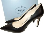 Prada Pumps Black Leather Classic Pointy Toe Heels Shoes 38 New