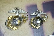 Authentic Vietnam Marine Corps Officers Ega Dress Blues Cover Set Sterling And 10k