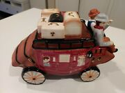 Wells Fargo And Company Stagecoach Wagon Ceramic Cookie Jar Collectible 2016