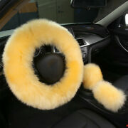 3pcs Set Fur Car Warm Steering Wheel Cover Mature Wool Furry Fluffy Thick Winter