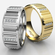 Vertical Cuts Round Diamond Eternity Menand039s Wedding Band Gold 0.25 Ct.